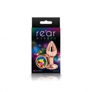 Rear Assets Rose Gold with Rainbow Jewel Butt Plug - Small