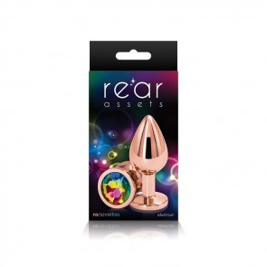 Rear Assets Rose Gold with Rainbow Jewel Butt Plug - Medium