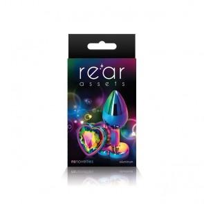 Rear Assets Rainbow Heart Shaped Jewel Butt Plug - Medium