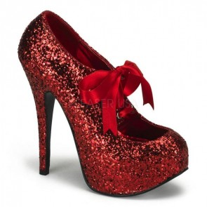 Teeze: Glitter Court Shoe with Ribbon Lacing