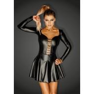 Noir Power Wet Look Mini Dress with Rocky Eyelets
